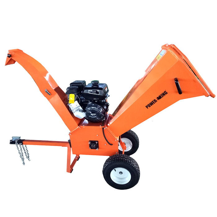 "Power King PK0903 9.5-Hp 4"" Removable Tow Hitch Bar Tri-Directional Gas Chipper"