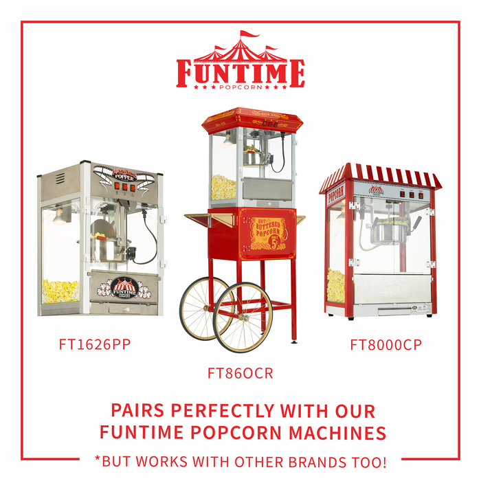 FunTime FT812 8-Ounce 3-in-1 Popcorn portion Movie Pouch Kit - 12pk