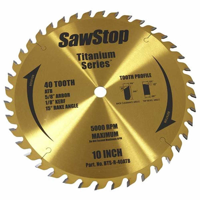 SawStop BTS-R-40ATB 40 Teeth Titanium Series Premium Woodworking Blade