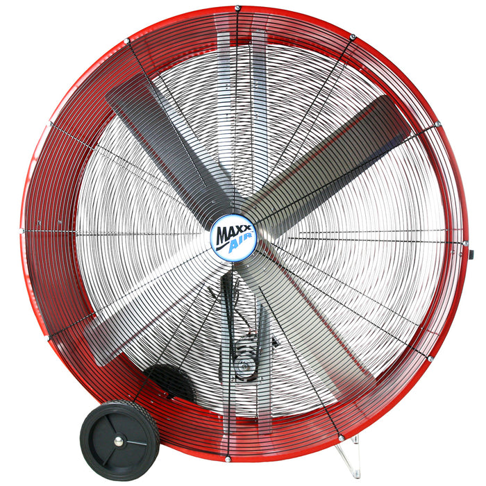 Maxx Air BF48BDRED 48-Inch 2-Speed Red Portable Belt Drive Drum Air Fan
