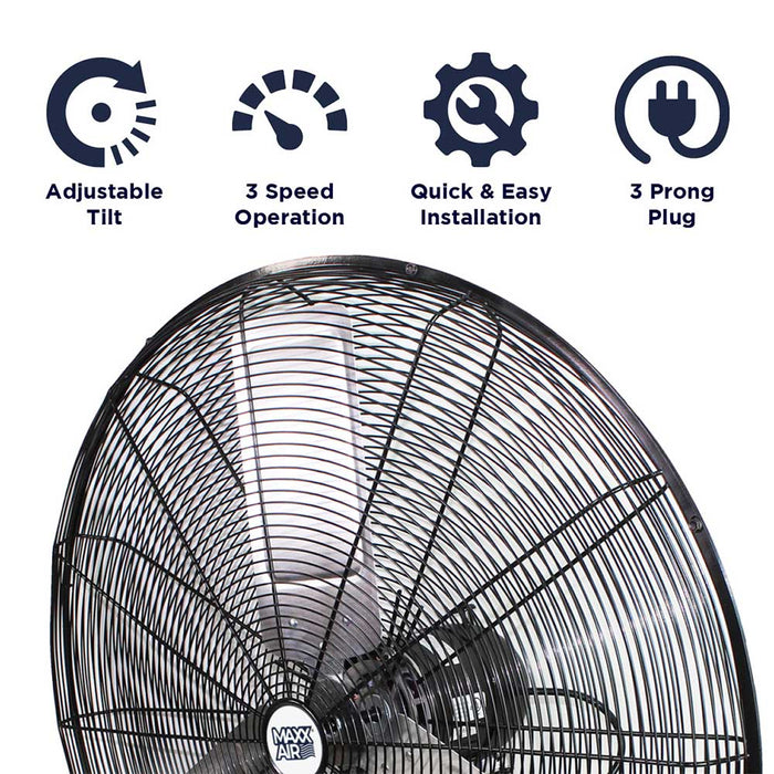 Maxx Air HVWM 30 OSC 30-Inch Metal Oscillating Wall Mount Fan - HVWM 30 OSCUPS
