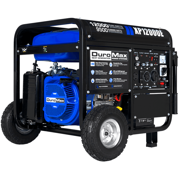 DuroMax XP12000E 12,000-Watt 18 HP Portable Electric Start Gas Powered Generator
