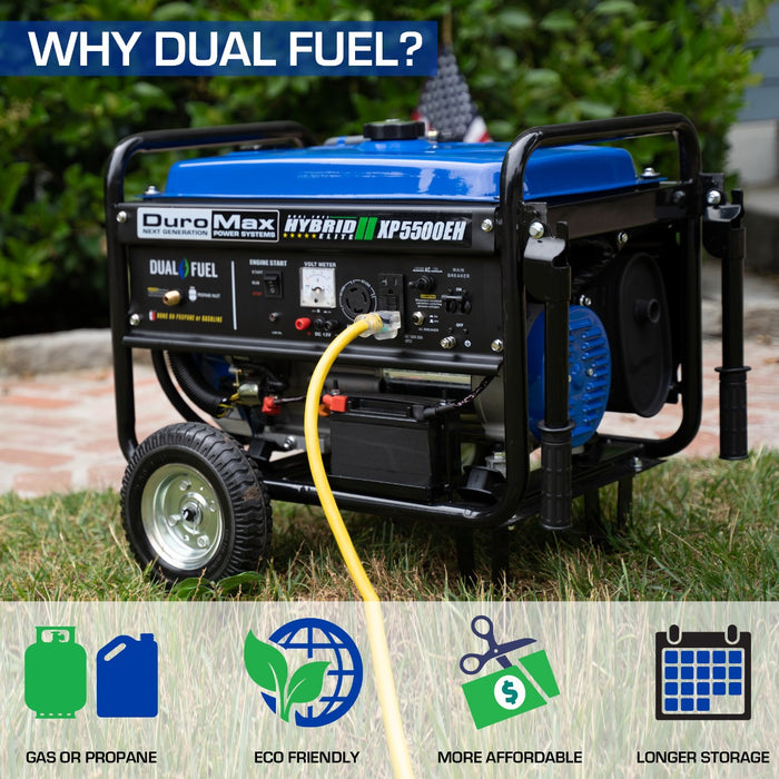 DuroMax XP5500EH 5,500-Watt 224cc Electric Start Hybrid Powered Generator