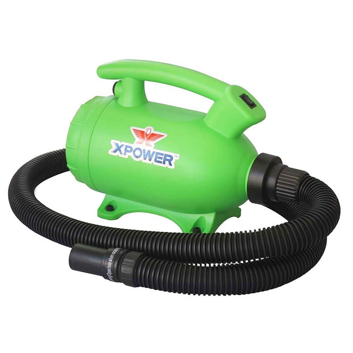 XPOWER B-55 2HP 100 CFM 8.0A 2-in-1 Home Force Air Pet Dryer + Vacuum Green