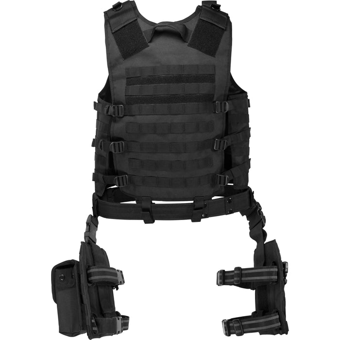 Barska BI12016 VX-100 Customizable Loaded Gear Black Tactical Vest, Leg Platform