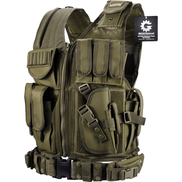 Barska BI1232 VX-200 Customizable Loaded Gear Green Tactical Vest