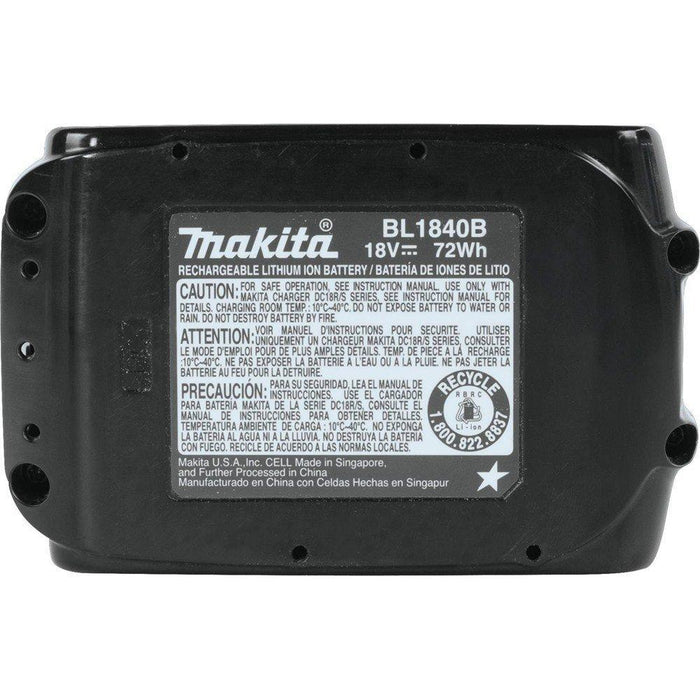 Makita BL1840B-2 18-Volt 4.0Ah LXT L.E.D. Lithium-Ion Charging Battery, 2-Pk