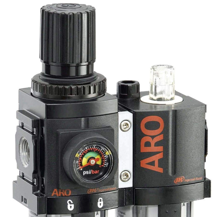 Ingersoll-Rand C38231-600 3/8'' Filter - Regulator - Lubricator Combination - Black/Gray