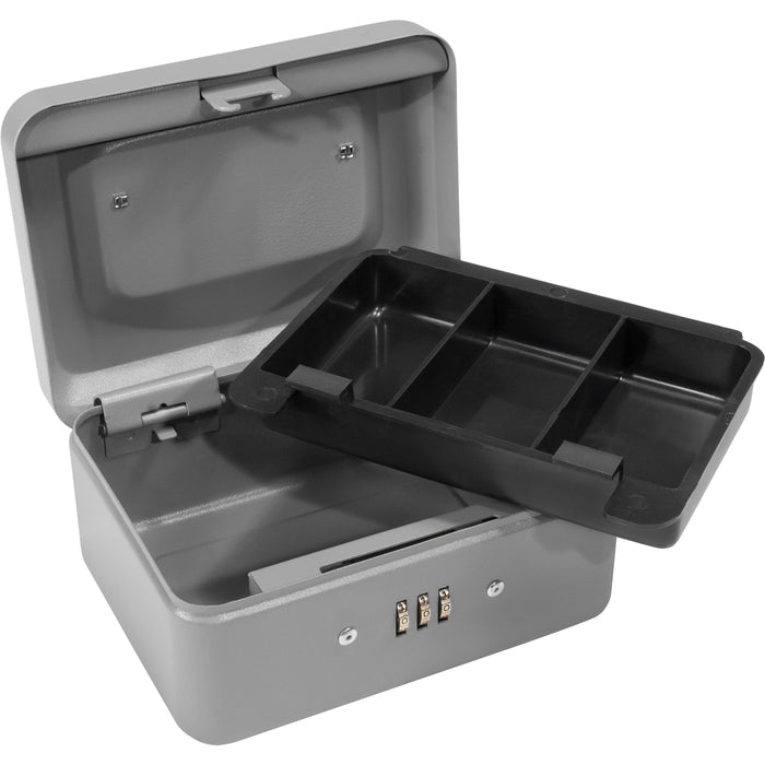 Barska CB11782 6-Inch 3 compartment Grey Cash Box with Combination Lock