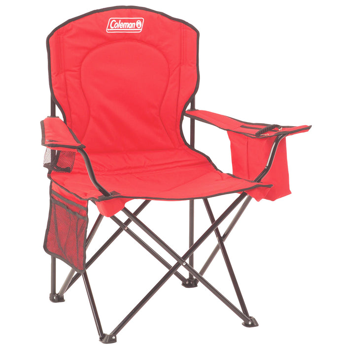 Coleman 2000032009 Red Portable Comfort Cup Holder Quad Chair w/ Cooler