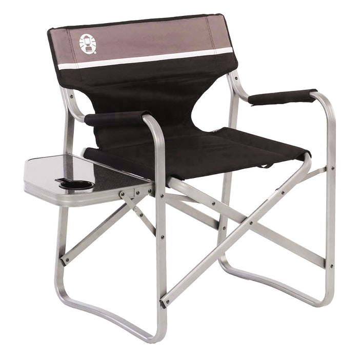 Coleman 2000020293 Aluminum Portable Flip Up Cushion Deck Chair w/ Side Table