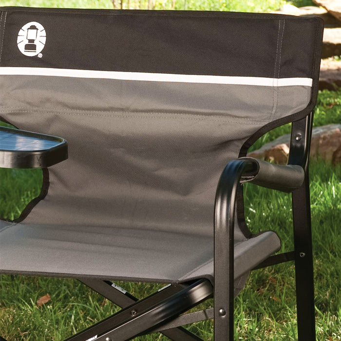Coleman 2000020295 Aluminum Portable Cushion Deck Chair w/ Swivel Table
