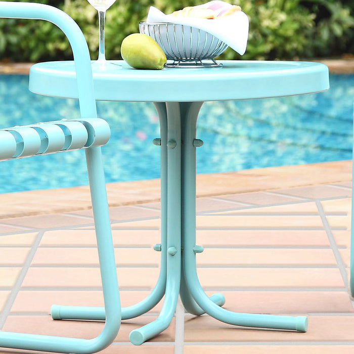 Crosley CO1011A-BL Sturdy Steel Retro Metal Side Table - Caribbean Blue