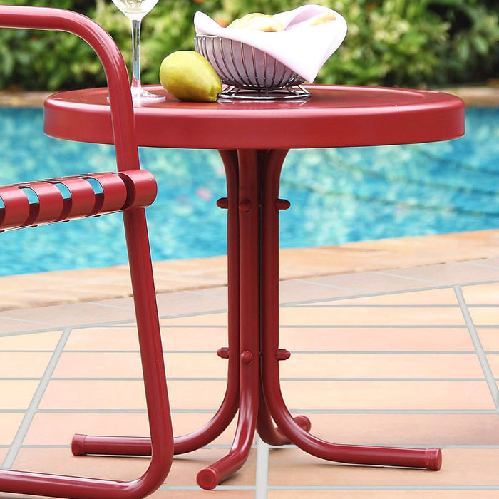 Crosley CO1011A-RE Sturdy Steel Retro Metal Side Table - Coral Red