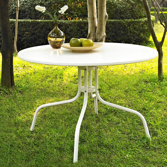 "Crosley CO1012A-WH Griffith Metal 40"" Dining Table in White Finish"
