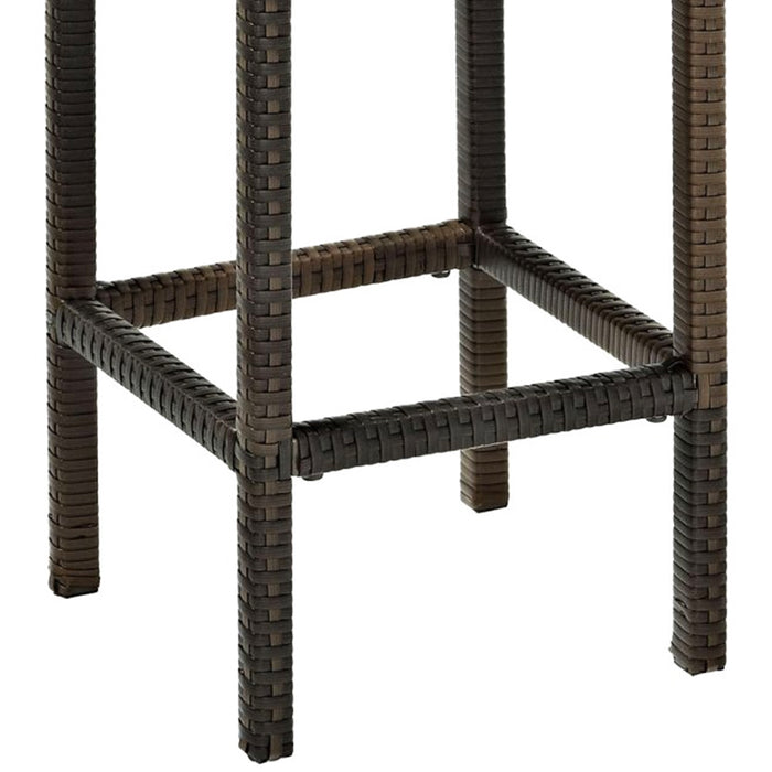 Crosley CO7107-BR 24-Inch Height Palm Harbor Outdoor Wicker Stool - Brown - 2pc