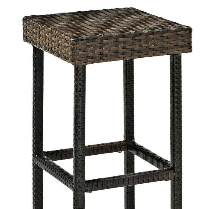 Crosley CO7108-BR 29-Inch Height Palm Harbor Outdoor Wicker Stool - Brown - 2pc