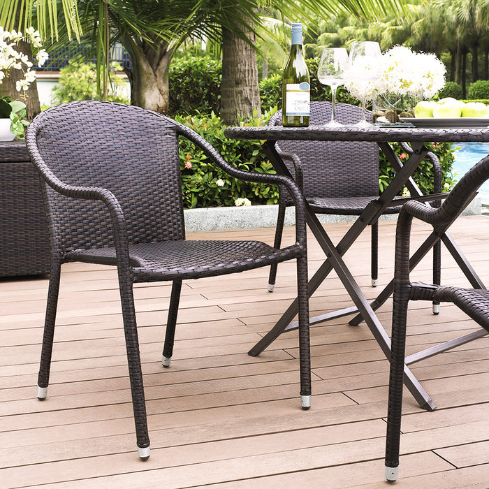 Crosley CO7109-BR Palm Harbor Outdoor Wicker Stackable Chairs - Brown - 4pc