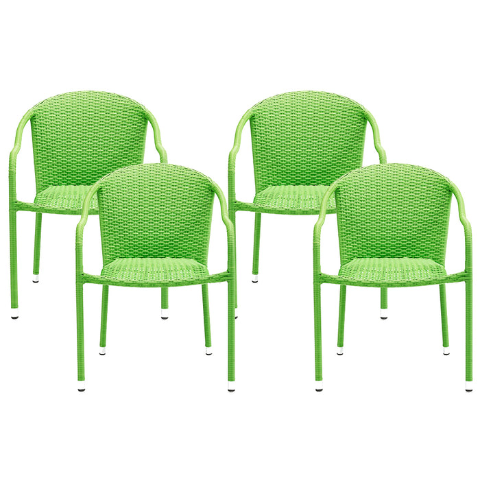 Crosley CO7109-GR Palm Harbor Outdoor Wicker Stackable Chairs - Green - 4pc