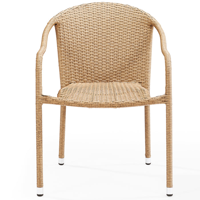 Crosley CO7109-LB Palm Harbor Outdoor Wicker Stackable Chairs-Light Brown - 4pc