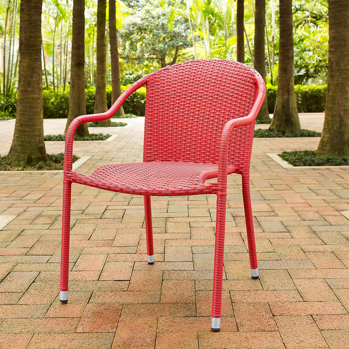 Crosley CO7109-RE Palm Harbor Outdoor Wicker Stackable Chairs - Red - 4pc