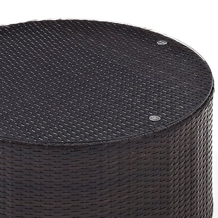 Crosley CO7121-BR Catalina Outdoor Wicker Round Glass Top Coffee Table