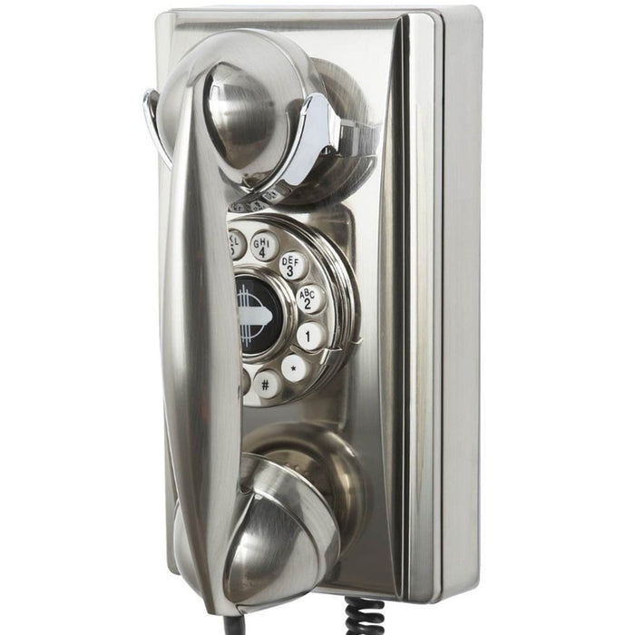 Crosley CR55-BC Rotary Dial Volume Control Wall Mountable Phone - Brushed Chrome