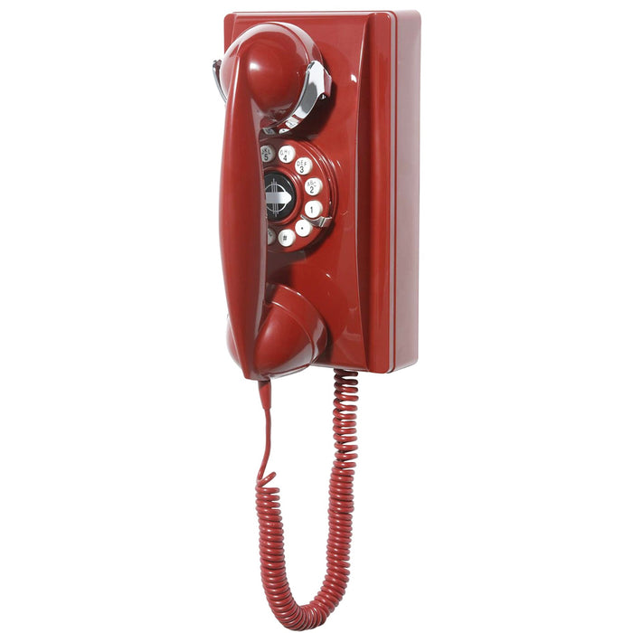 Crosley CR55-RE Rotary Dial Volume Control Wall Mountable Phone - Red