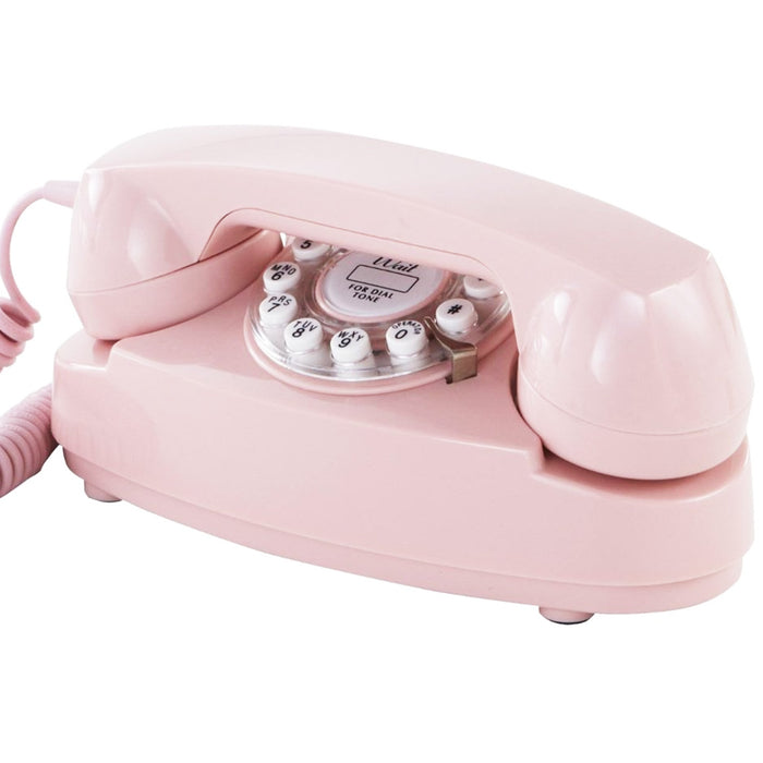 Crosley CR59-PI Rotary Dial Push Button Technology Princess Phone - Pink