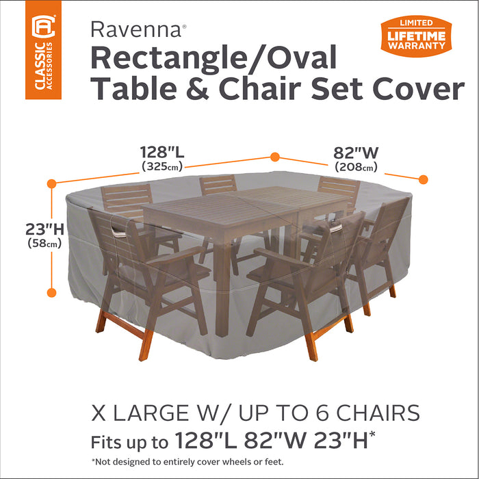Classic Accessories 55-156-055101-EC Taupe Rectangle Table/Chair Cover - X-Large
