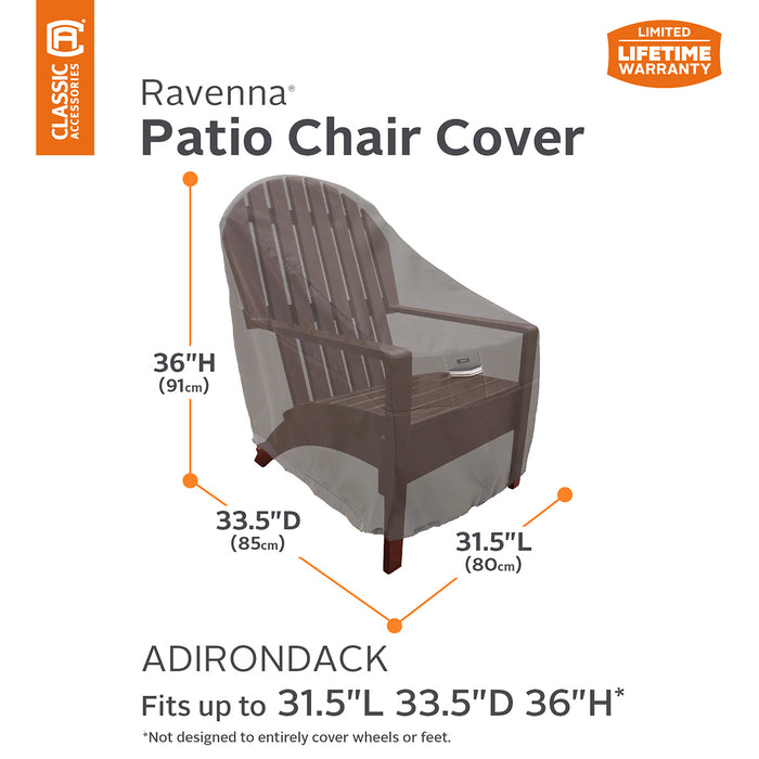 Classic Accessories 55-165-015101-EC Ravenna Dark Taupe Adirondack Chair Cover