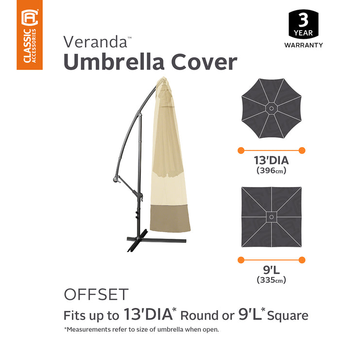 Classic Accessories 55-230-011501-00 Veranda Pebble Offset Umbrella Canopy Cover
