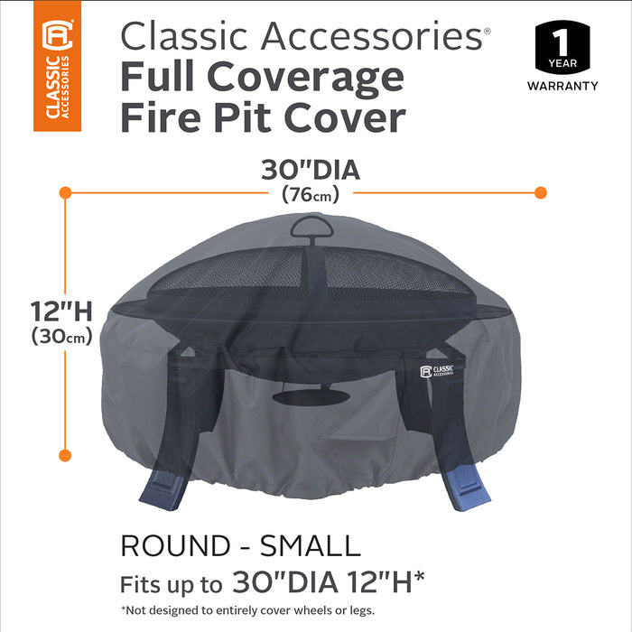 Classic Accessories 55-552-010401-00 30-Inch Black Durable Round Fire Pit Cover