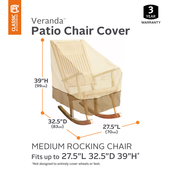 Classic Accessories 70952 Veranda Pebble Durable Patio Rocking Chair Cover