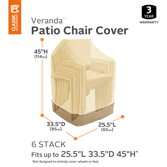 Classic Accessories 78972 Veranda Pebble Heavy Duty Patio Stackable Chair Cover