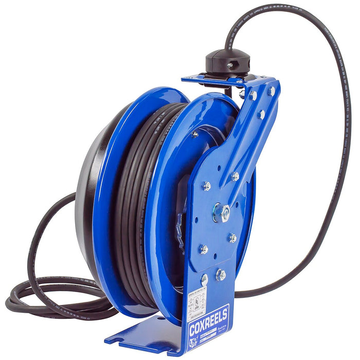 Coxreels EZ-PC13-5012-B 50-Foot Quad Receptacle Spring Rewind Reel w/ Power Cord