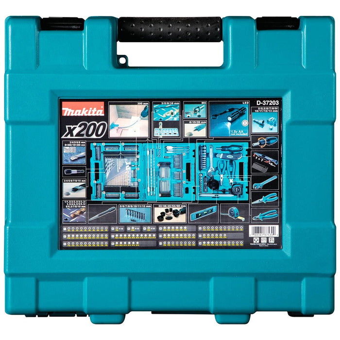 Makita D-37203 Assorted Drilling/Fastening Metric Bit and Hand Tool Set - 200pc