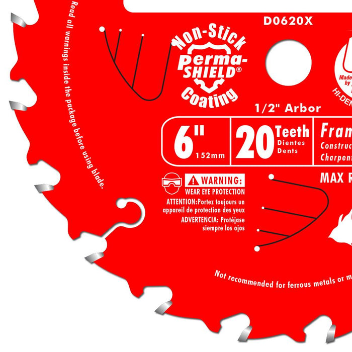 Diablo D0620X 6-Inch 20-TPI Carbide Framing Saw Blade For Port-Cable Saw Boss
