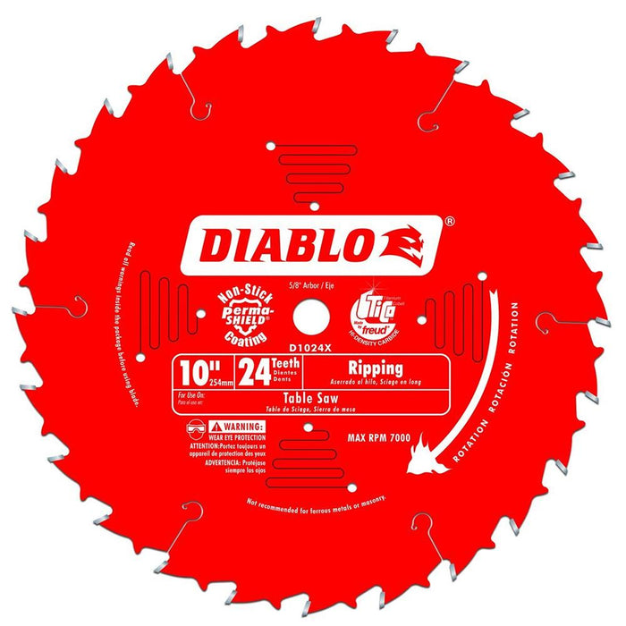 Diablo D1024X 10-Inch 24-TPI Perma-Shield Carbide Tri-Metal Ripping Saw Blade