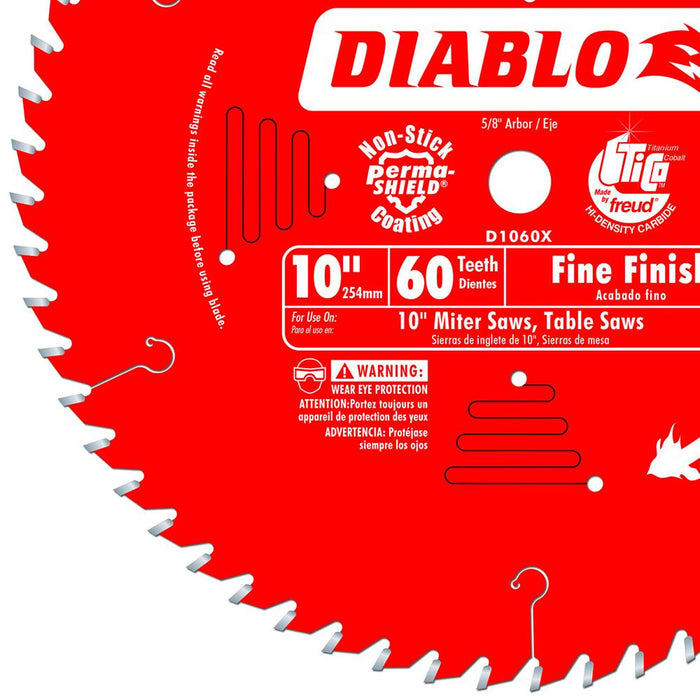 Diablo D1060X 10-Inch 60-TPI Carbide Tri-Metal Wood Fine Finish Saw Blade