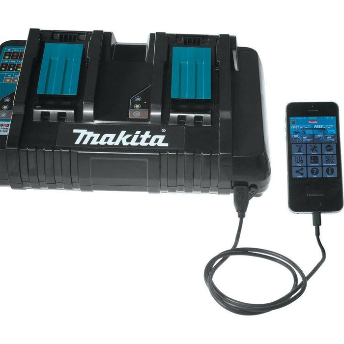 Makita DC18RD 18V Lithium-Ion Dual Port Rapid Optimum Charger with USB Port