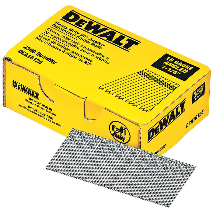 DeWALT DCA16125 1-1/4'' 20 Degree 16 Gauge Angled Galvanized Finish Nails (2500 Pack)