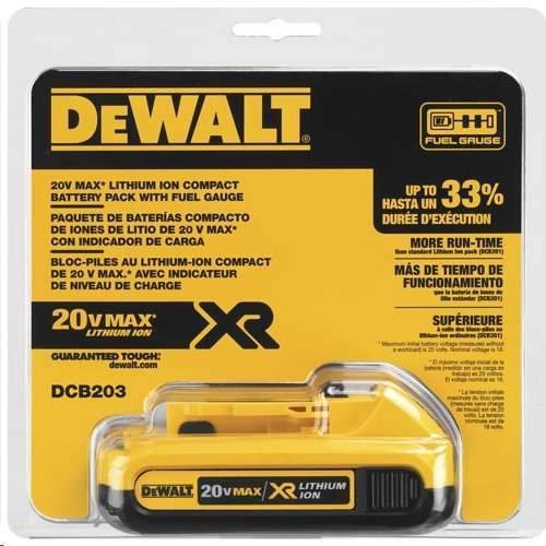 DeWALT 20V MAX Compact XR Lithium Ion Battery Pack - DCB203