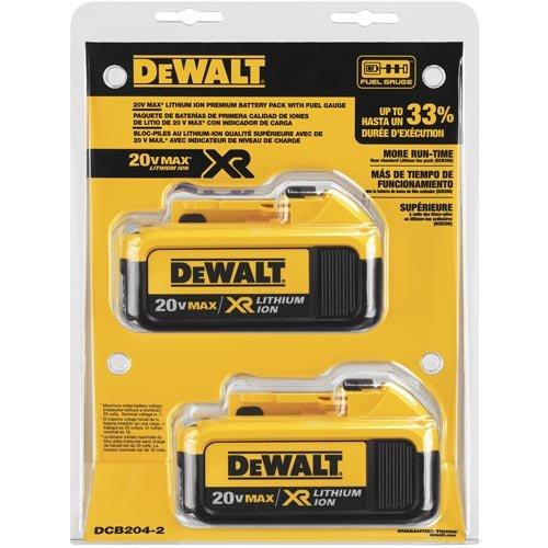 DeWALT DCB204-2 20V MAX XR Lithium Ion 4Ah Battery Tool Pack 2 Pack