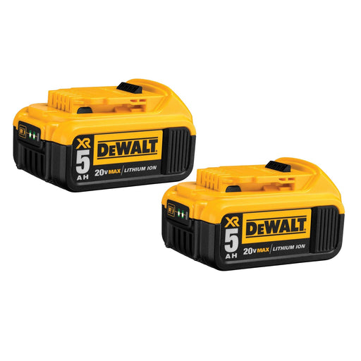 DeWALT DCB205-2 20V MAX Premium XR 5.0Ah Lithium Ion Power Tool Battery - 2 Pack