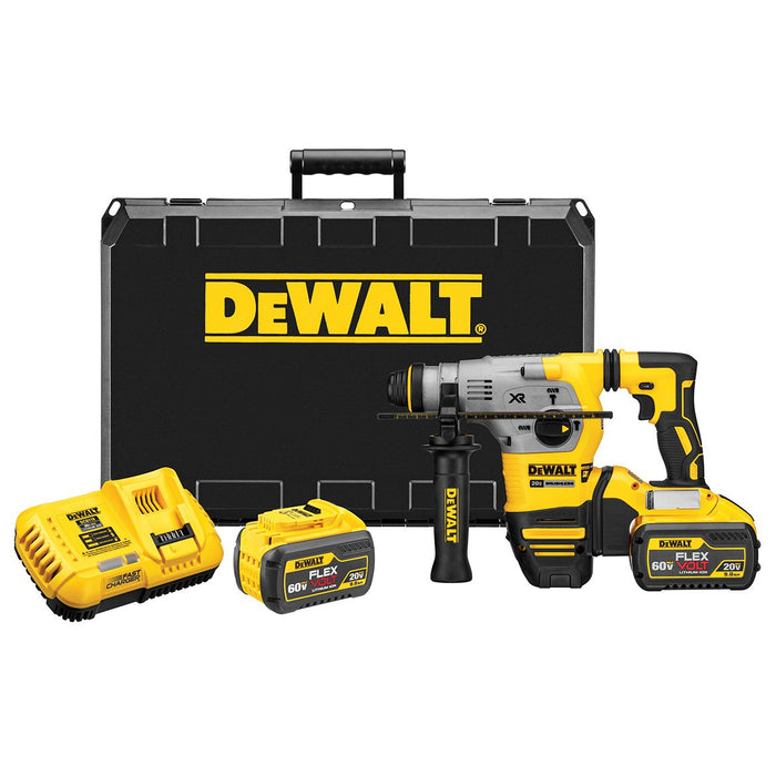 "DeWALT DCH293X2 20V 1-1/8"" 9.0 Ah XR Brushless SDS Plus Rotary Hammer Kit"
