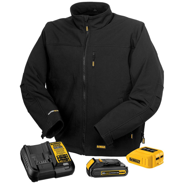 DeWALT DCHJ060ABD1-L 20-Volt Heated Soft Shell Jacket Kit, Black - Large - Bare Tool