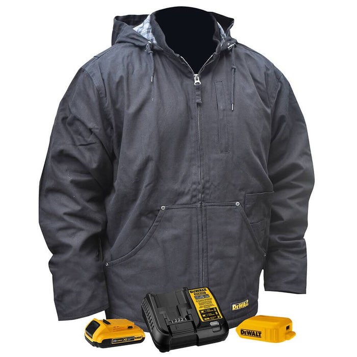 DeWALT DCHJ076ABD1-L 20V Heated Heavy Duty Work Coat Kit Black Large - Bare Tool