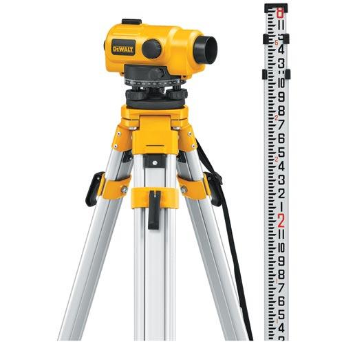 DeWALT DW096PK 26X Automatic Optical Level Tripod Rod Kit W/ Carrying Case