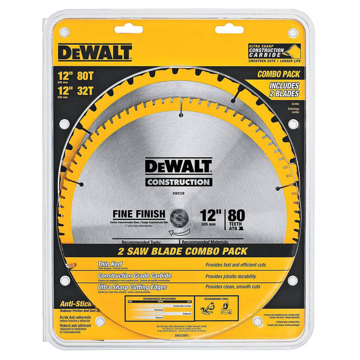 DeWALT DW3128P5D80I 12'' x 1'' 80t Construction Saw Blade (2-Pack)